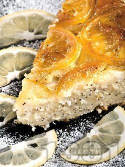 Вкусен обърнат лимонов кейк / сладкиш с маково семе (с прясно мляко, яйца и бакпулвер) - снимка на рецептата